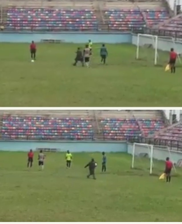 Strange man invades pitch during Fc Ifeanyi Uba match, leaves with the ball.