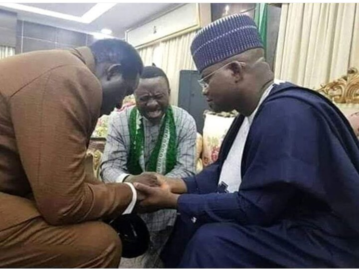 Kogi Elections: CAN president caught praying for Yahaya Bello for electoral success.