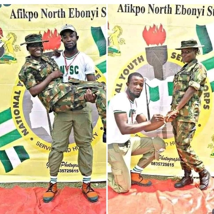 Male NYSC member proposes to a female soldier in Ebonyi camp.