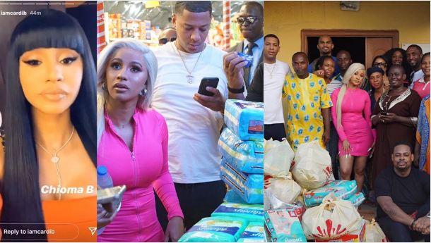 American Rapper CardiB Visits Motherless Babies home in Lagos.