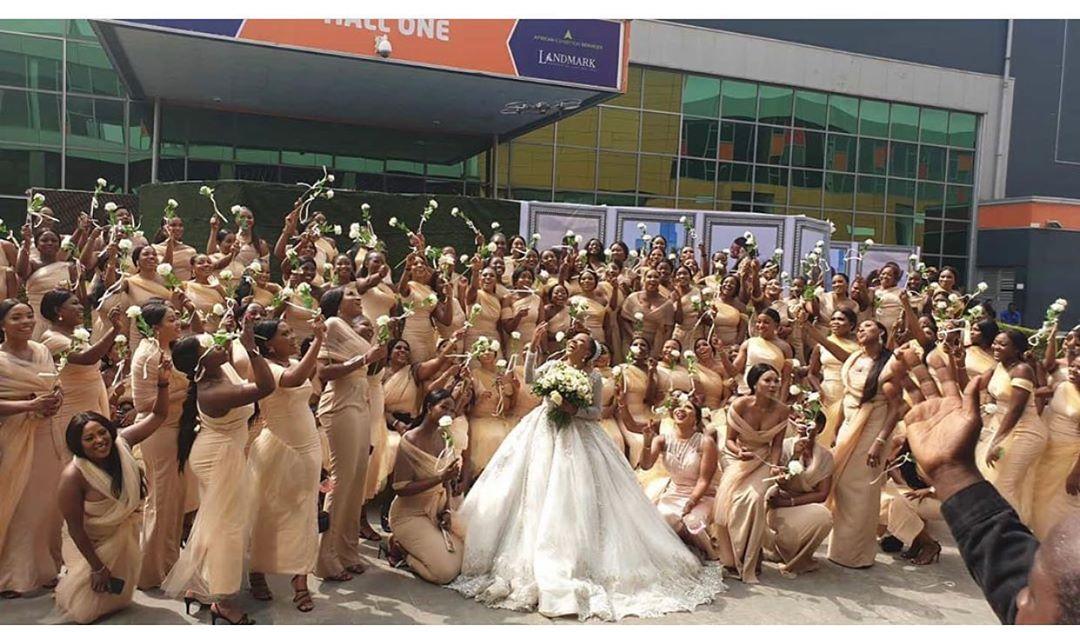 Linda Ikeji's Sister Weds With 200 Bridesmaid